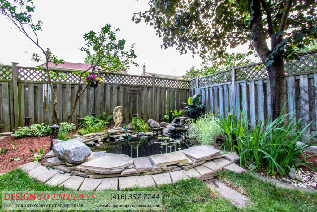 Backyard Pond, 133 Huntington Park, Thornhill Home Staging