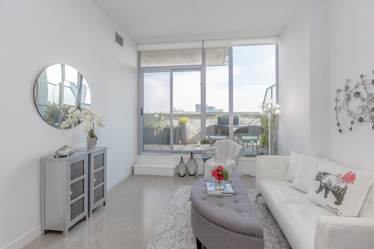 Balcony and Living Room, 510 King, Toronto Condo Staging