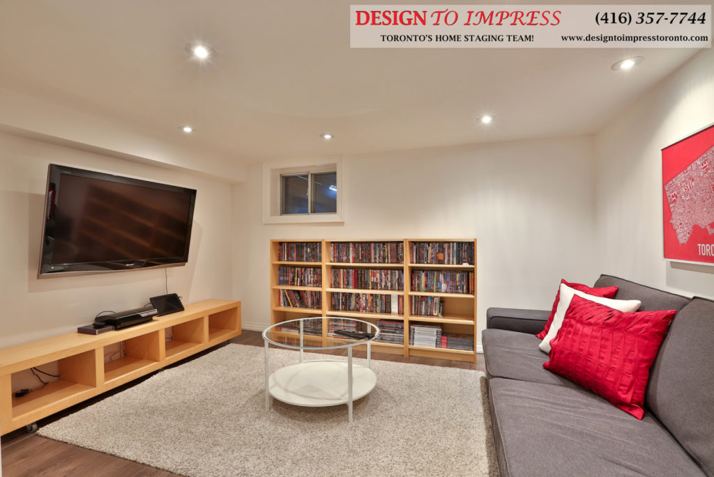 Basement Living Room, 291 Springdale, Toronto Home Staging