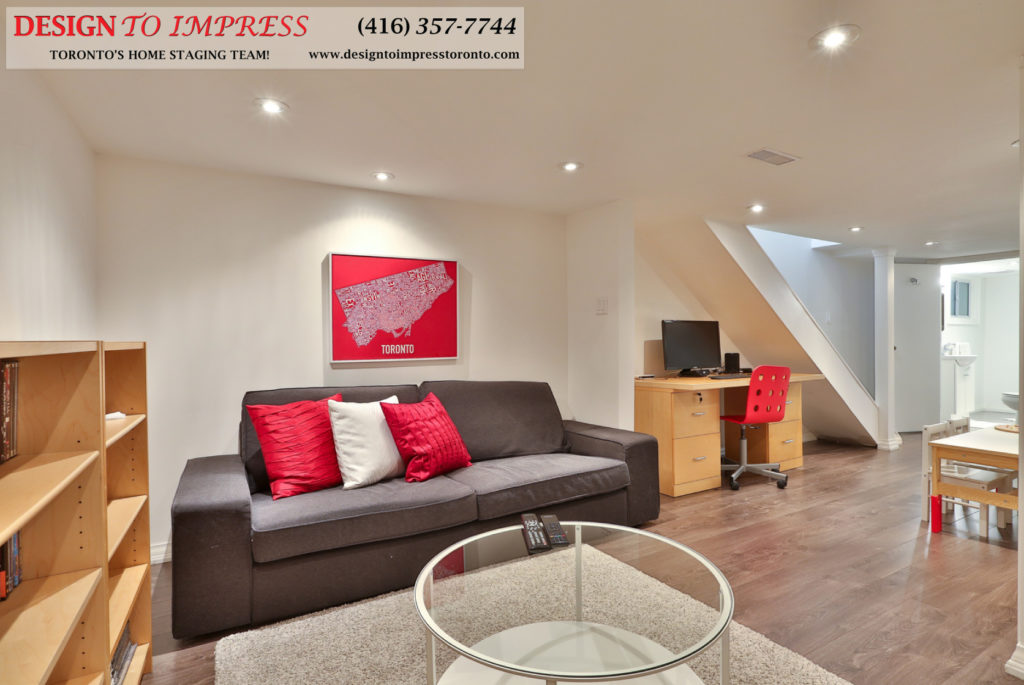 Basement Sitting Area, 291 Springdale, Toronto Home Staging