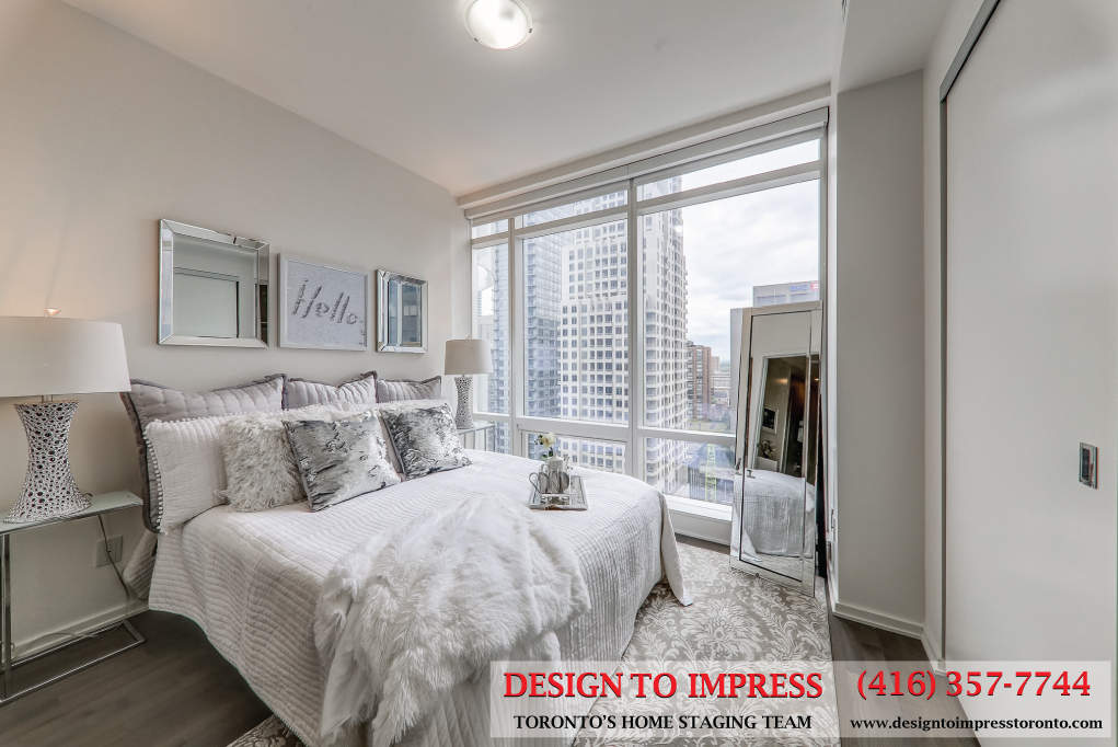 Bedroom, 1 Bloor St. East, Toronto Condo Staging