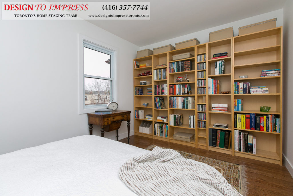 Bedroom Bookshelf, 291 Springdale, Toronto Home Staging