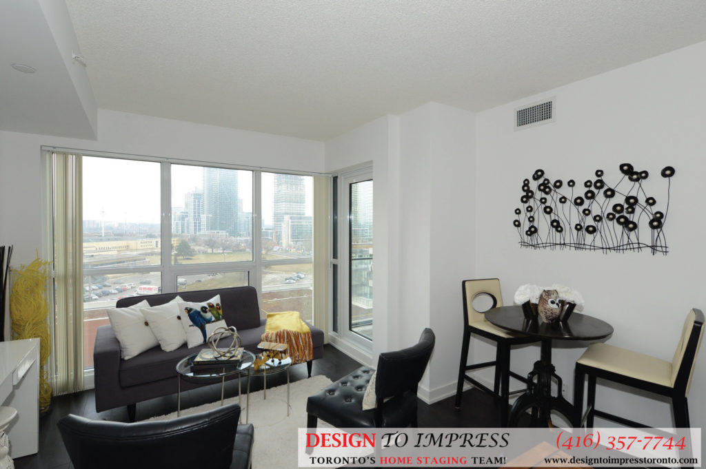 Dining and Living Room, 2220 Lakeshore Blvd. West, Toronto Condo Staging
