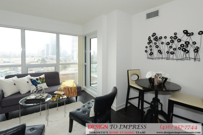 Dining and Living Room Alternative View, 2220 Lakeshore Blvd. West, Toronto Condo Staging