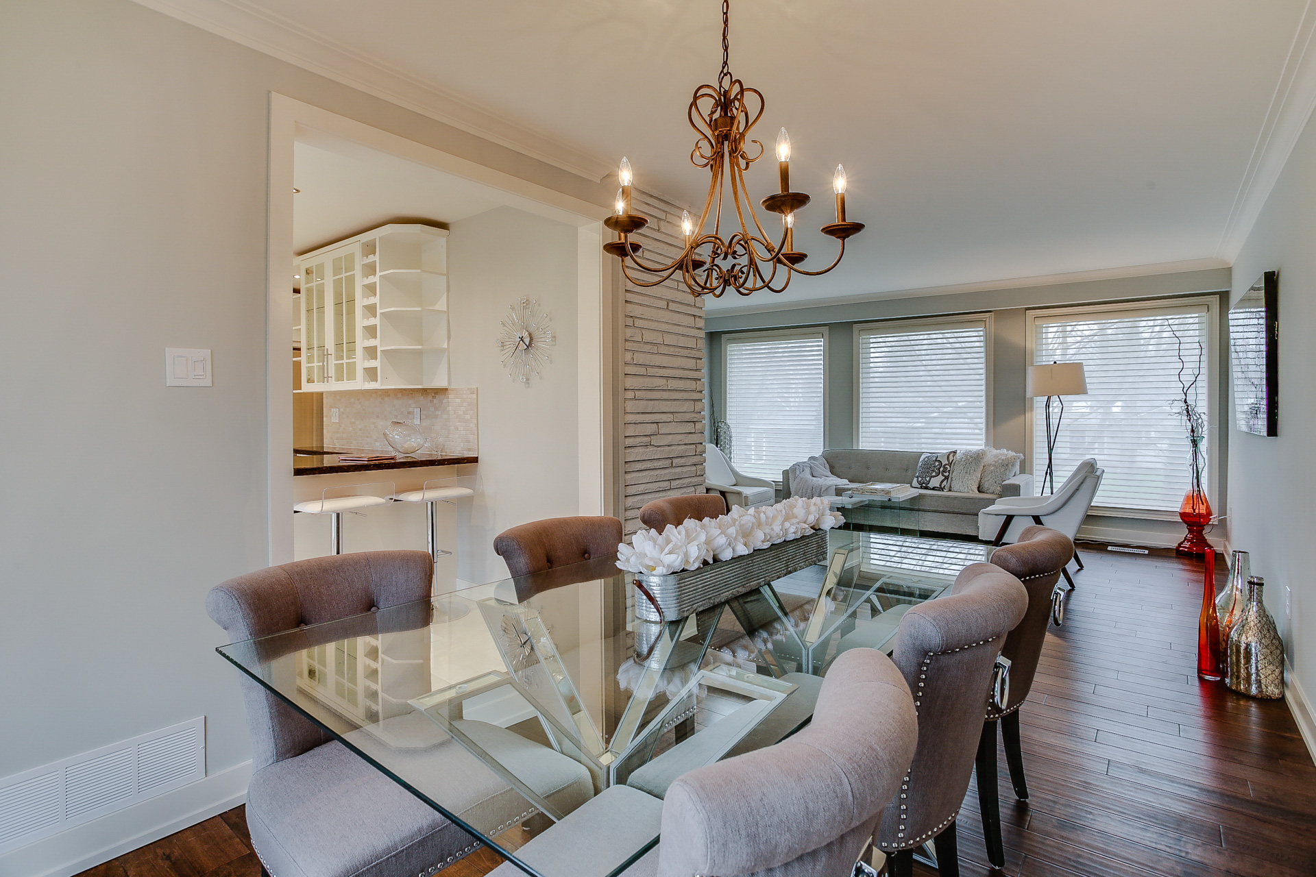 Dining Room, Living Room and Kitchen, 26 Boxbury, Etobicoke Home Staging