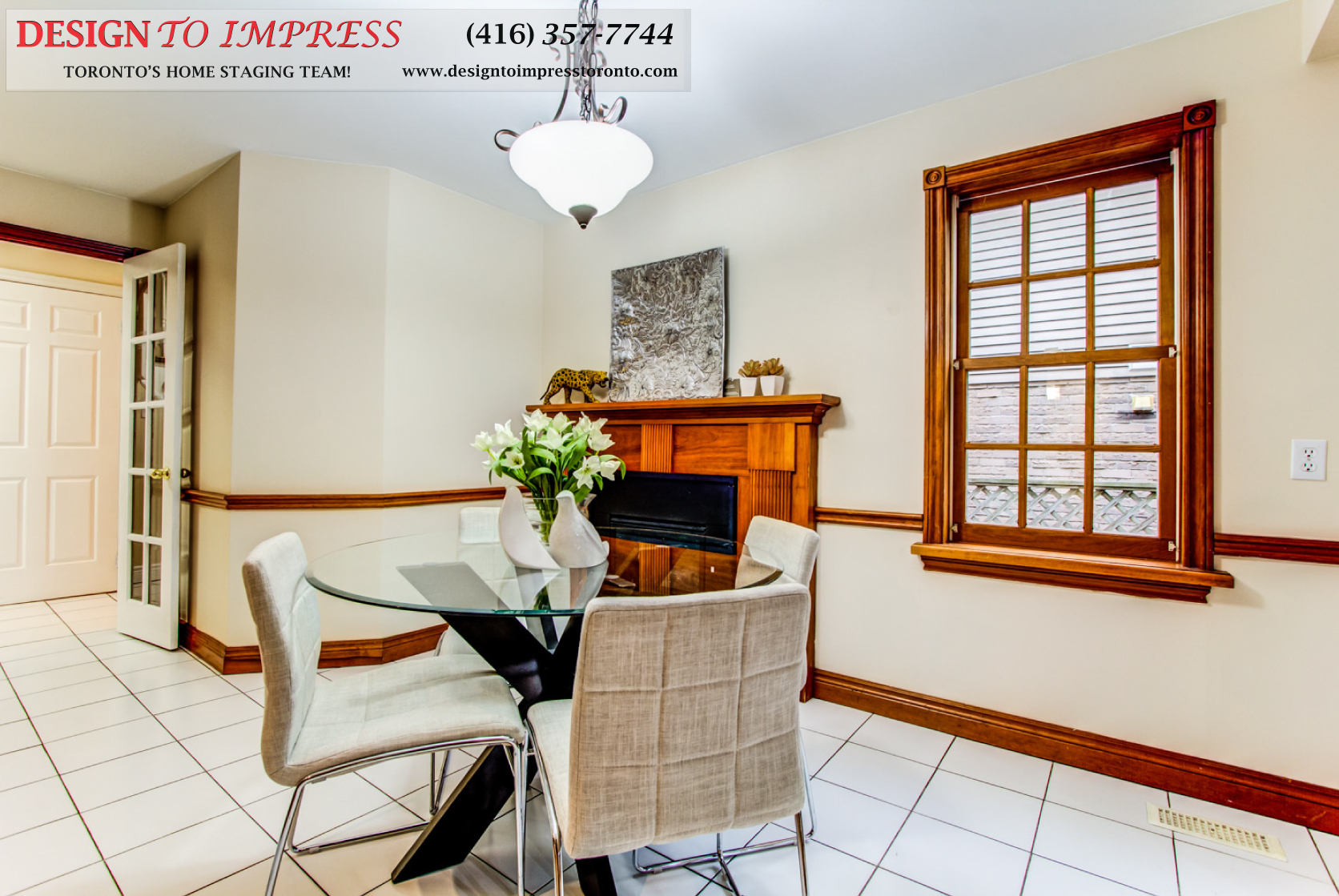 Eat-in Kitchen Fireplace, 133 Huntington Park, Thornhill Home Staging