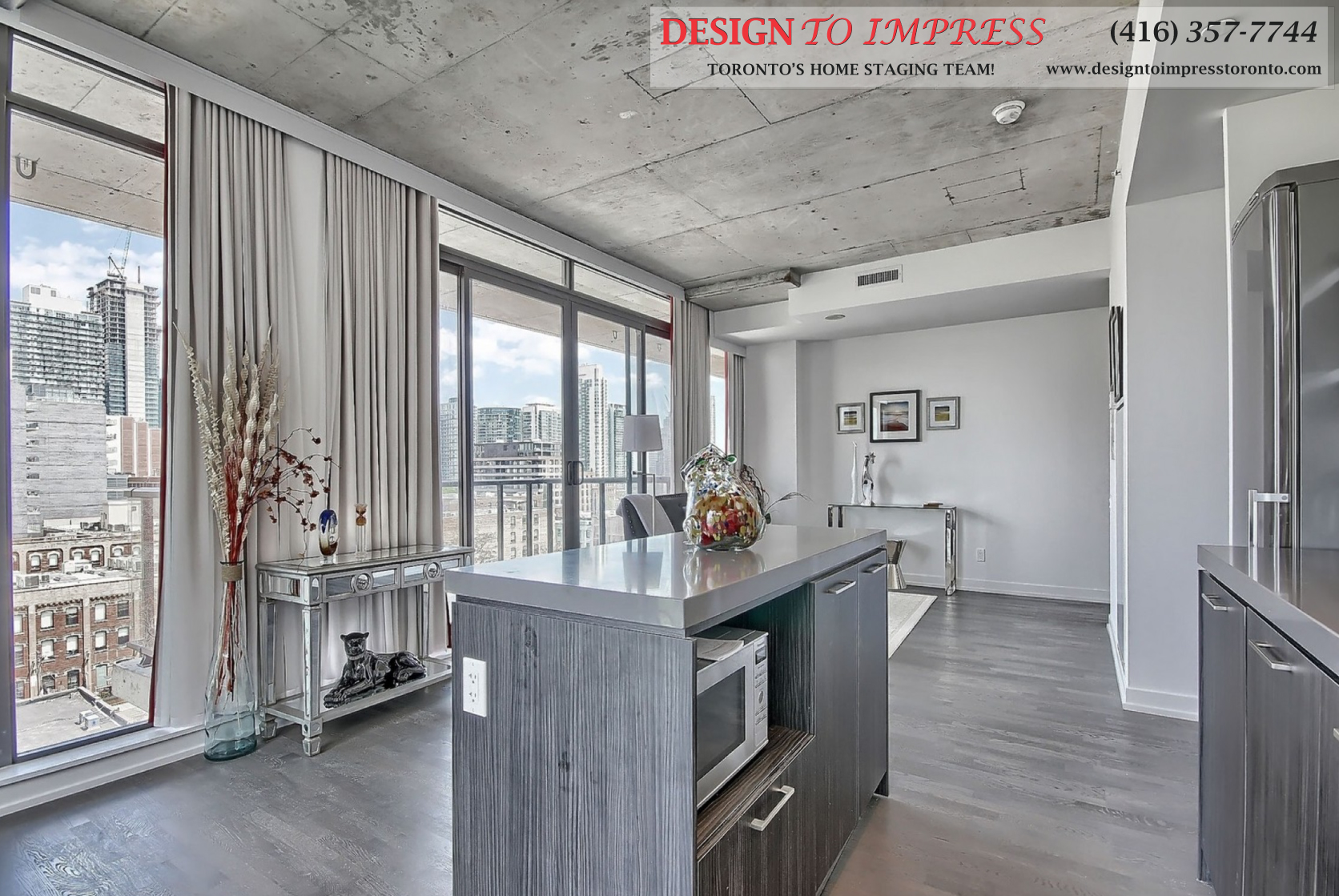 Kitchen Balcony View, 560 King St. West, Toronto Condo Staging