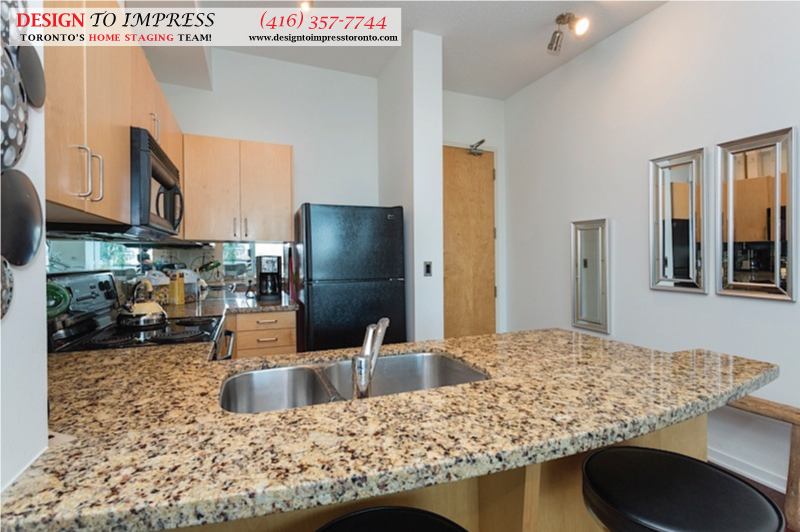 Kitchen Countertop, 388 Richmond, Toronto Condo Staging