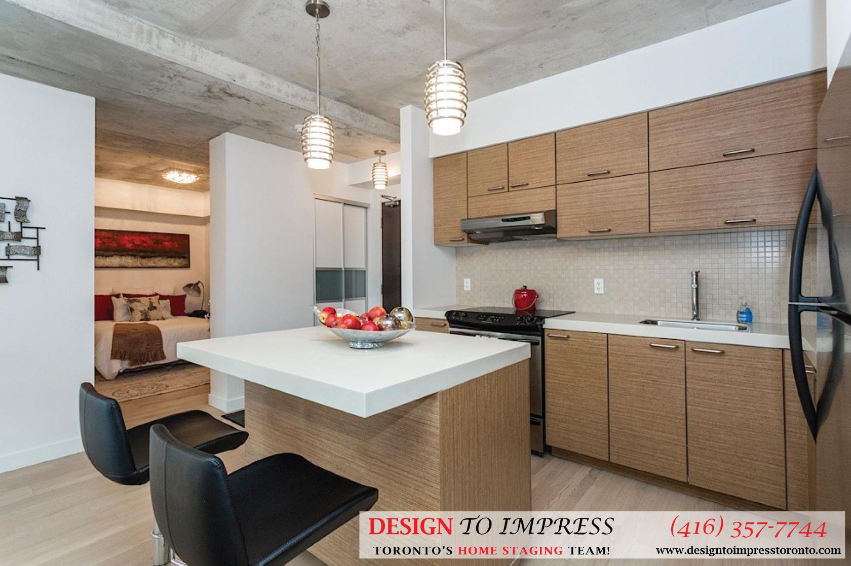 Kitchen Countertop, 55 Stewart, Toronto Condo Staging