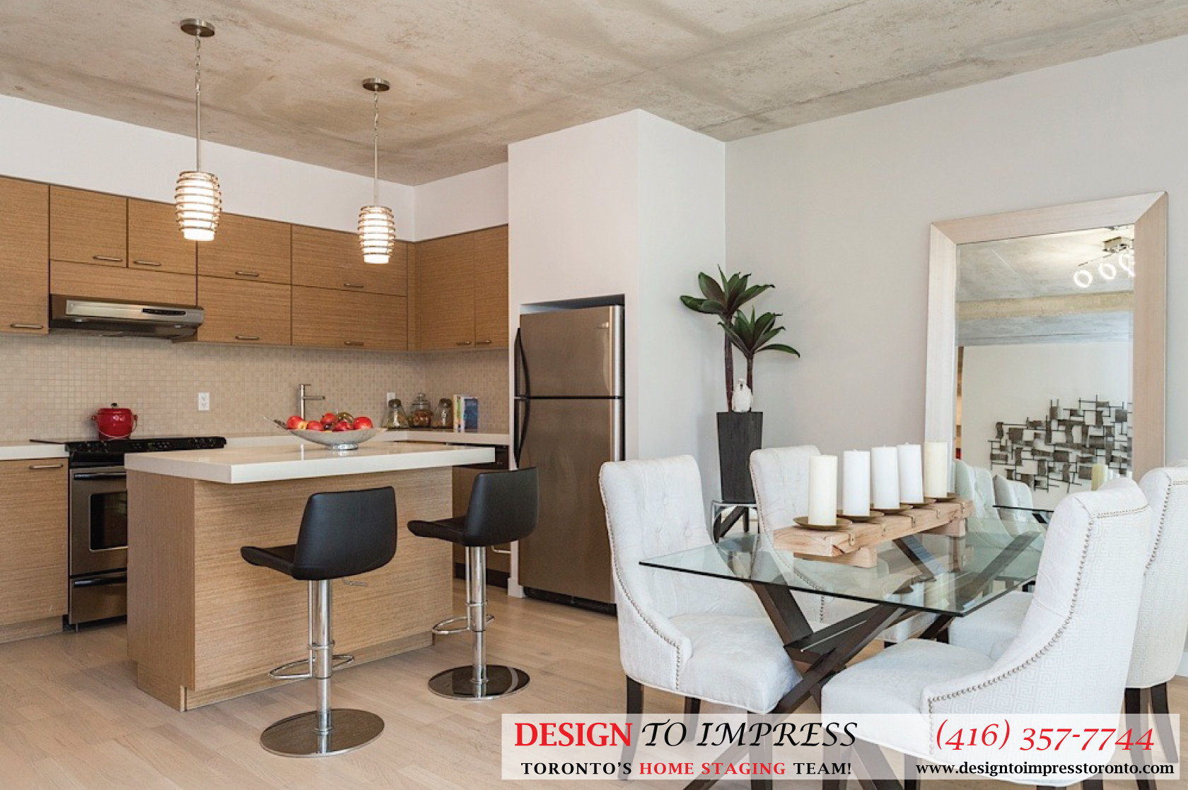 Kitchen and Dining Room, 55 Stewart, Toronto Condo Staging