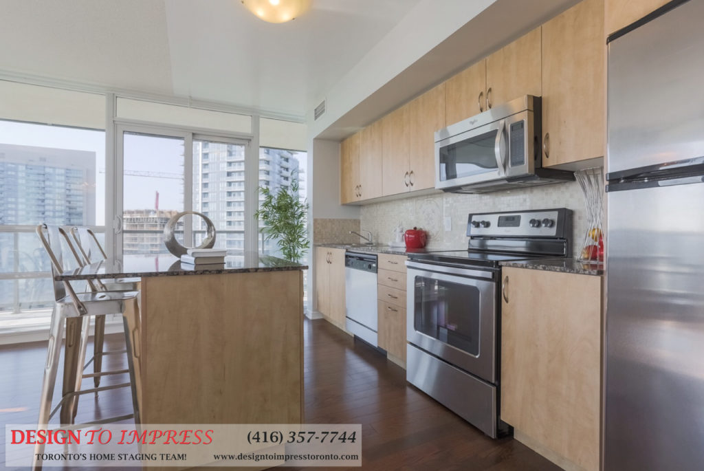 Kitchen Island, 2230 Lakeshore Blvd. West, Toronto Condo Staging