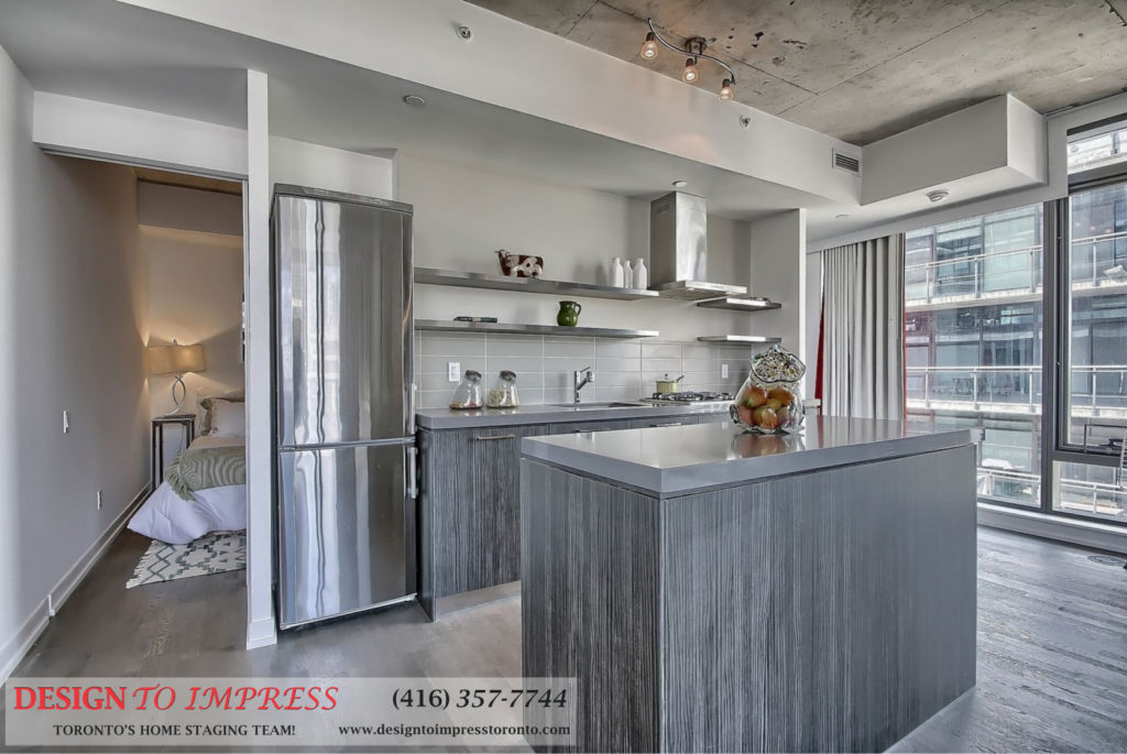 Kitchen Island, 560 King St. West, Toronto Condo Staging