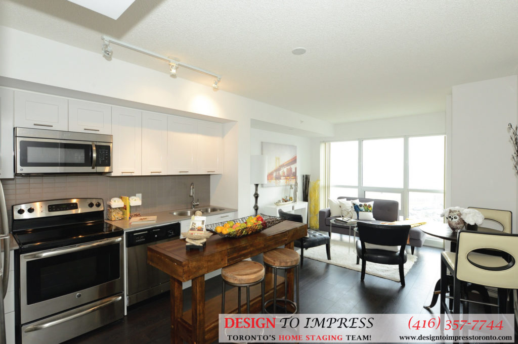 Kitchen Open Concept, 2220 Lakeshore Blvd. West, Toronto Condo Staging