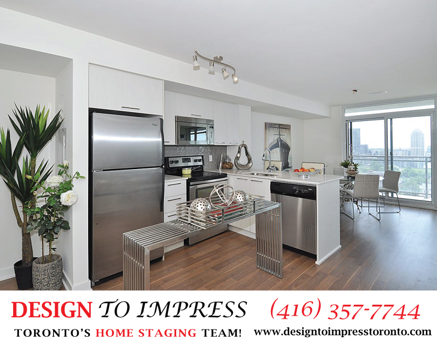 Kitchen Sideview, 78 Tecumseth, Toronto Condo Staging