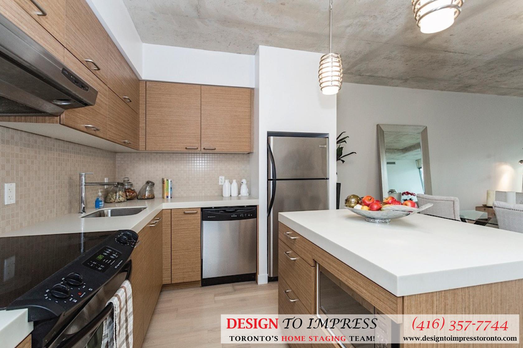 Kitchen Sideview, 55 Stewart, Toronto Condo Staging