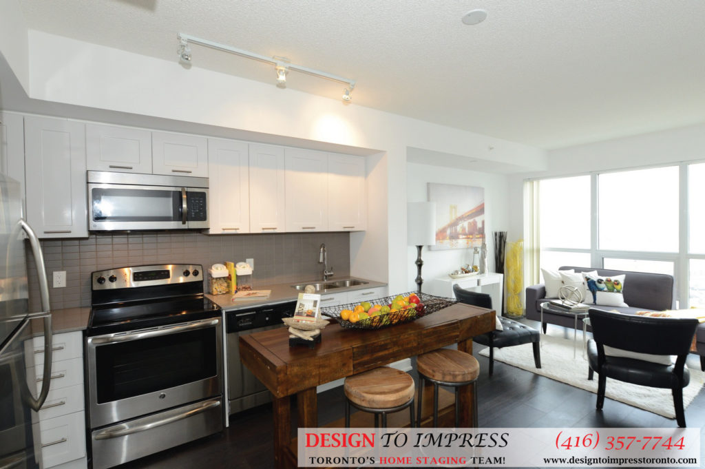 Kitchen Window View, 2220 Lakeshore Blvd. West, Toronto Condo Staging