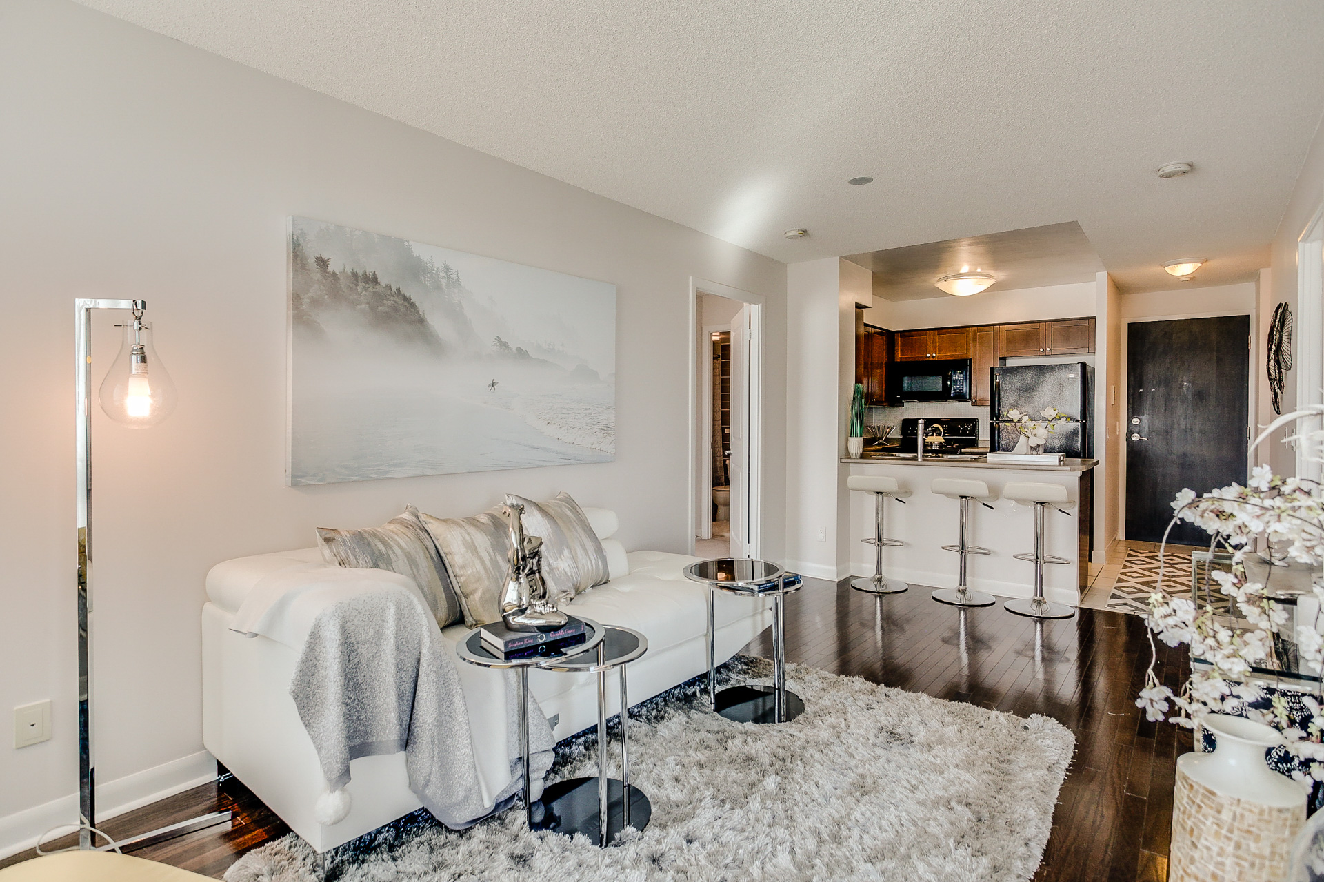 Living Room and Kitchen, 235 Sherway Gardens, Etobicoke Home Staging