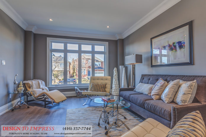 Living Room, 1297 Fawndale, Pickering Home Staging