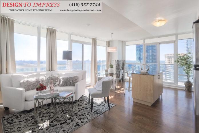 Living Room, 2230 Lakeshore Blvd. West, Toronto Condo Staging