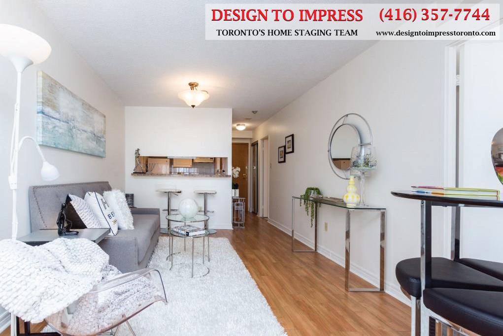 Living Room, 44 St. Joseph, Toronto Condo Staging
