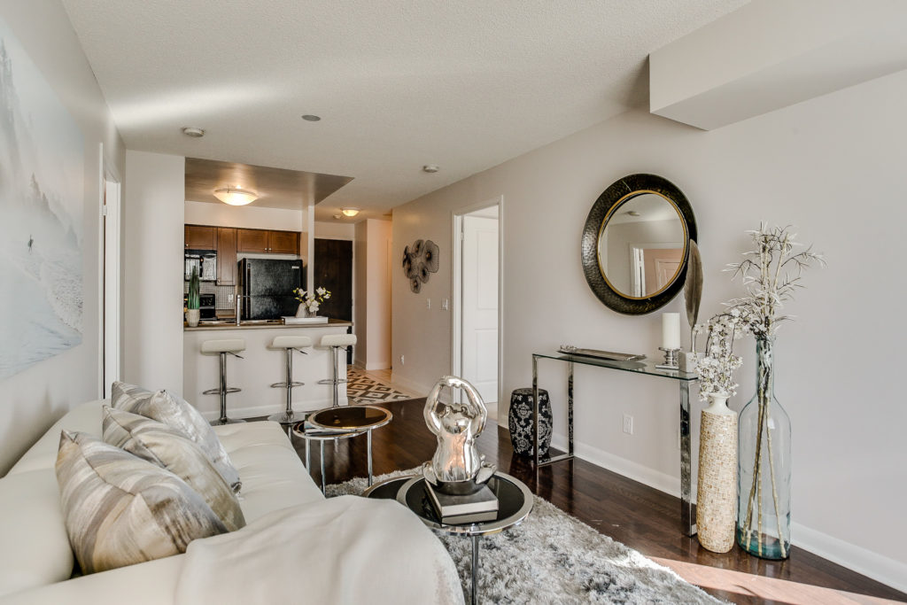 Living Room Area, 235 Sherway Gardens, Etobicoke Home Staging