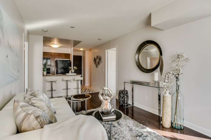 Living Room Area, 235 Sherway Gardens, Etobicoke Home Staging