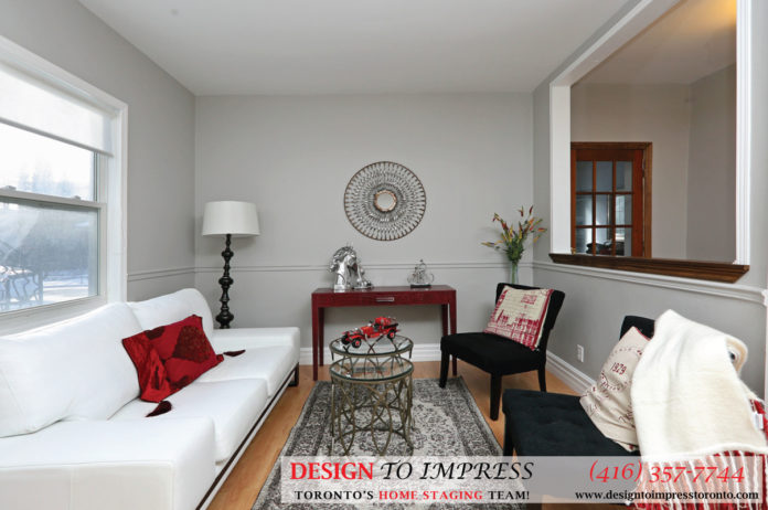 Living Room Front View, 169 Rhodes, Toronto Home Staging