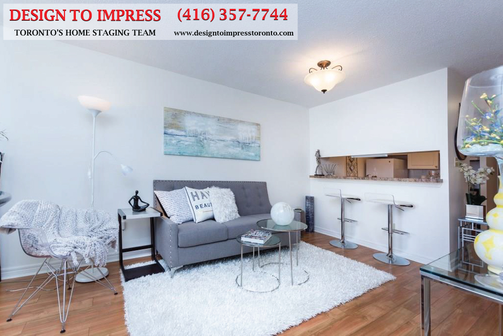 Living Room and Kitchen, 44 St. Joseph, Toronto Condo Staging