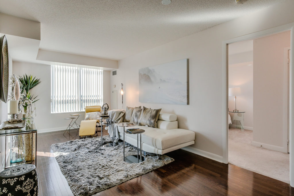 Living Room View, 235 Sherway Gardens, Etobicoke Home Staging