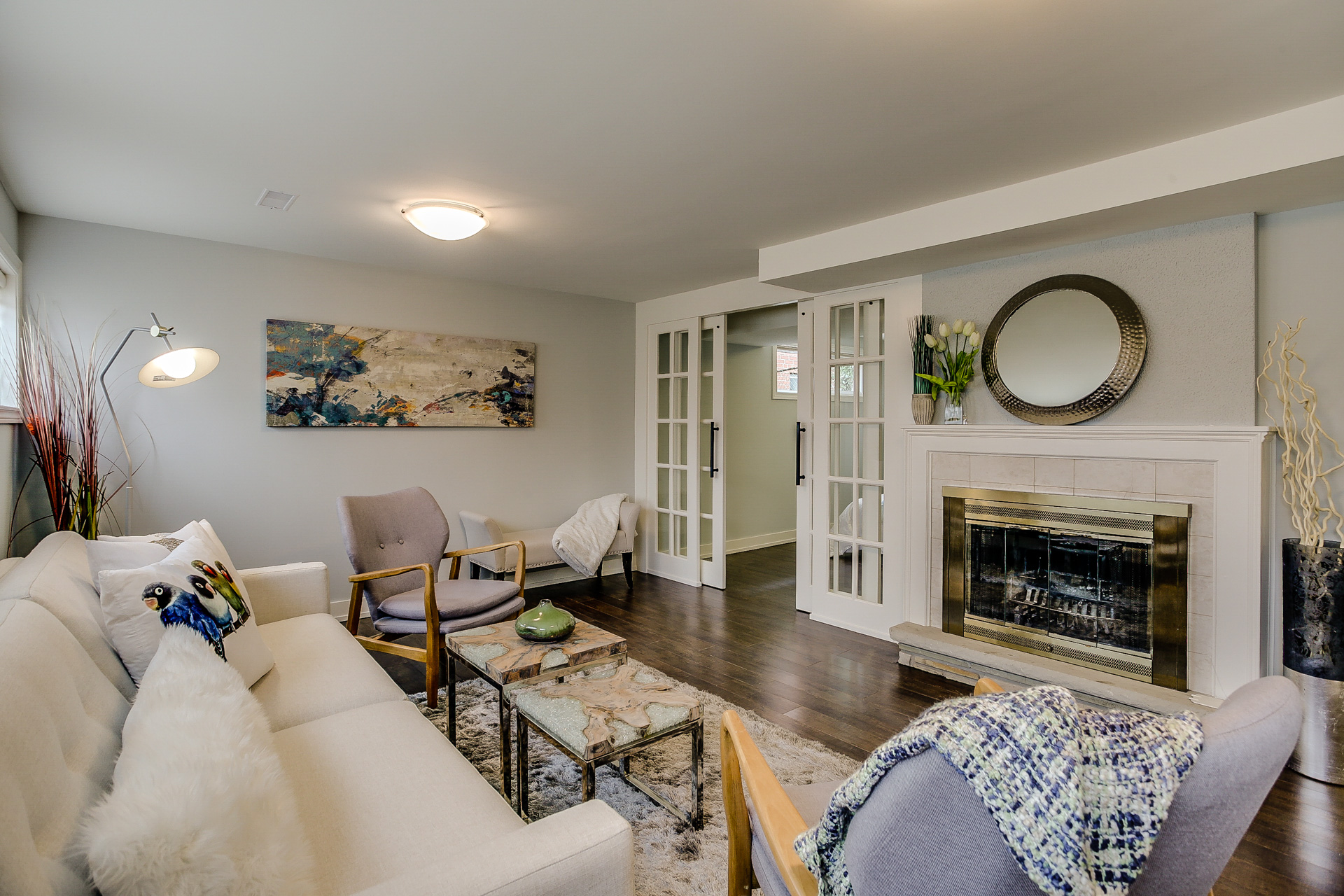 Lower Level Living Area, 26 Boxbury, Etobicoke Home Staging