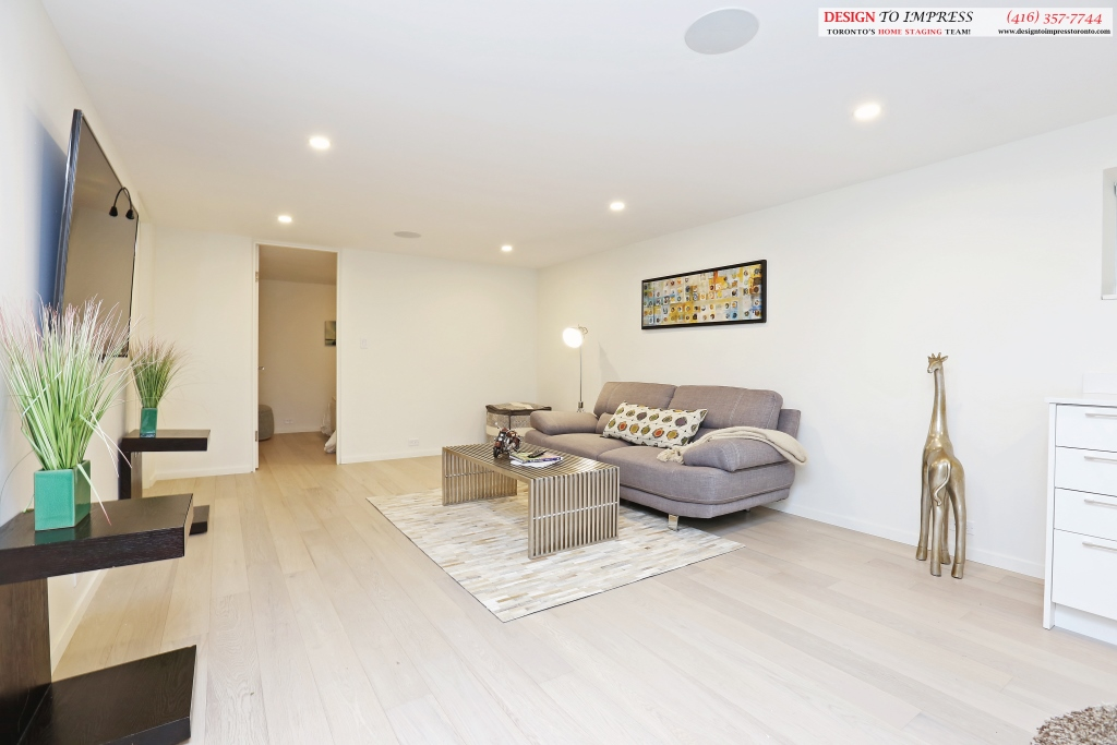 Lower Level Living Area, 75 Parkway, Toronto Home Staging