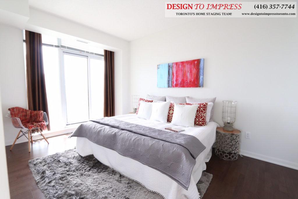 Master Bedroom, 21 Grand Magazine, Toronto Condo Staging
