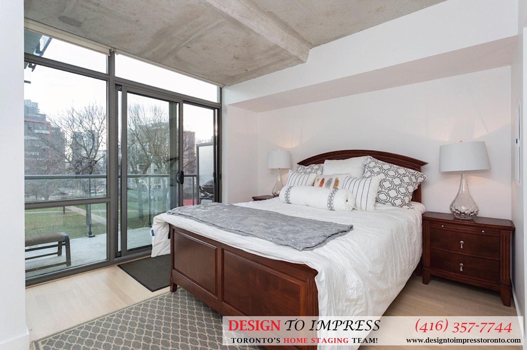 Master Bedroom, 55 Stewart, Toronto Condo Staging