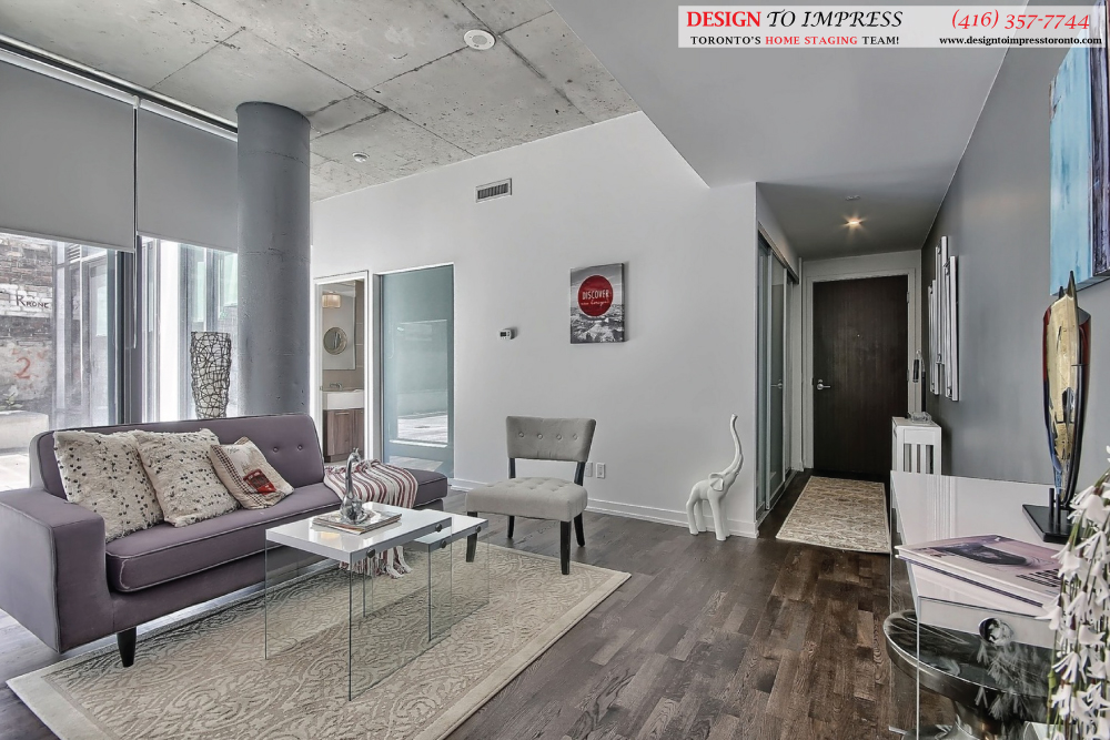 Sitting Room and Front Door, 461 Adelaide, Toronto Condo Staging