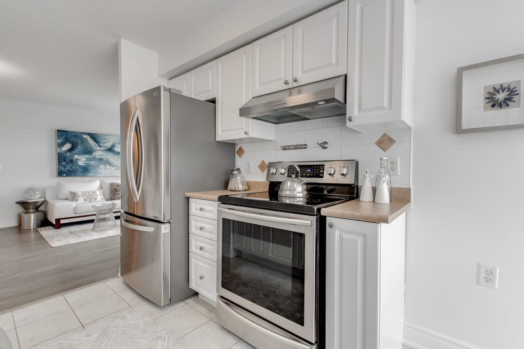 Kitchen Appliances, 20 Olive Ave, Toronto Condo Staging
