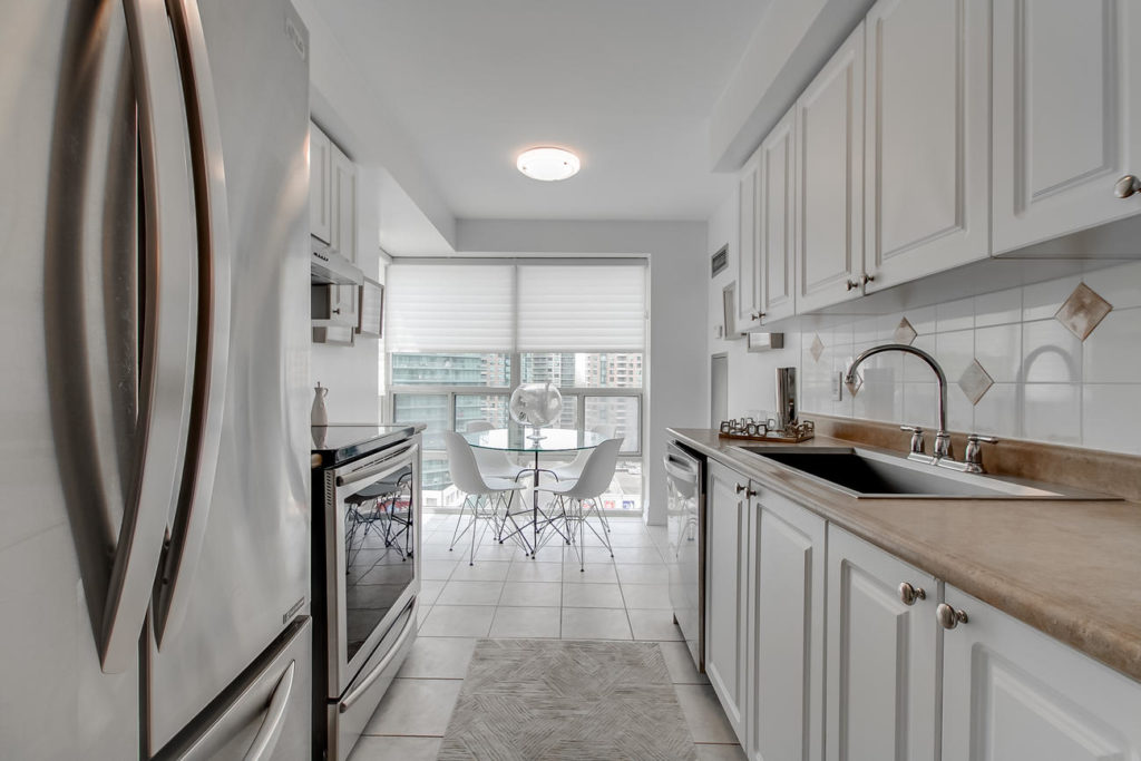 Kitchen Walkway, 20 Olive Ave, Toronto Condo Staging