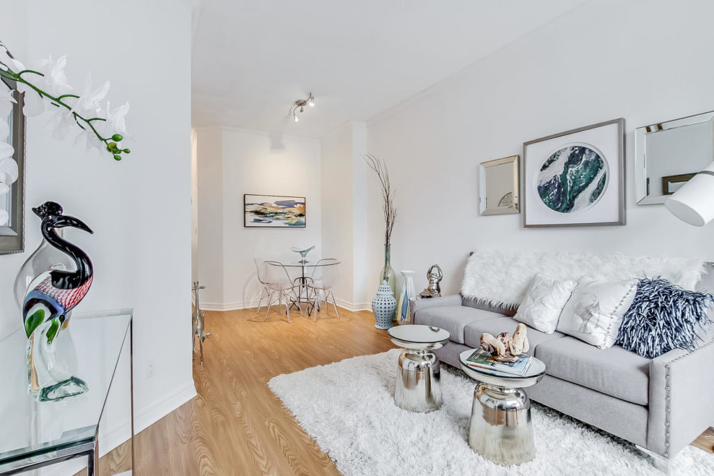 Living Room and Eat-in Kitchen, 55 Bloor, Toronto Condo Staging