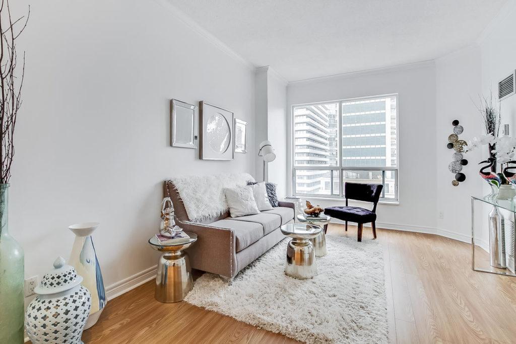 Living Room, 55 Bloor, Toronto Condo Staging