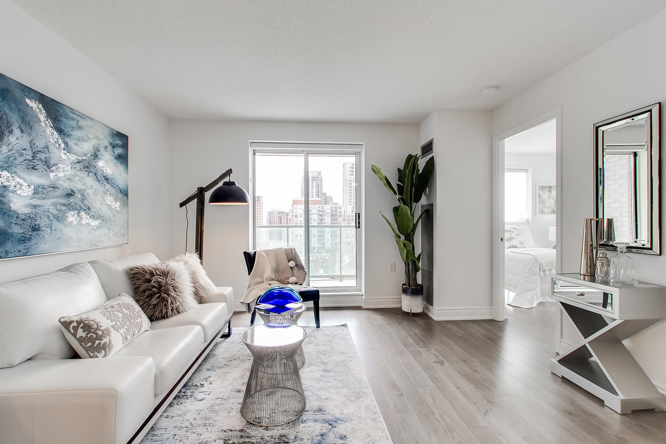 Living Room Window, 20 Olive Ave, Toronto Condo Staging