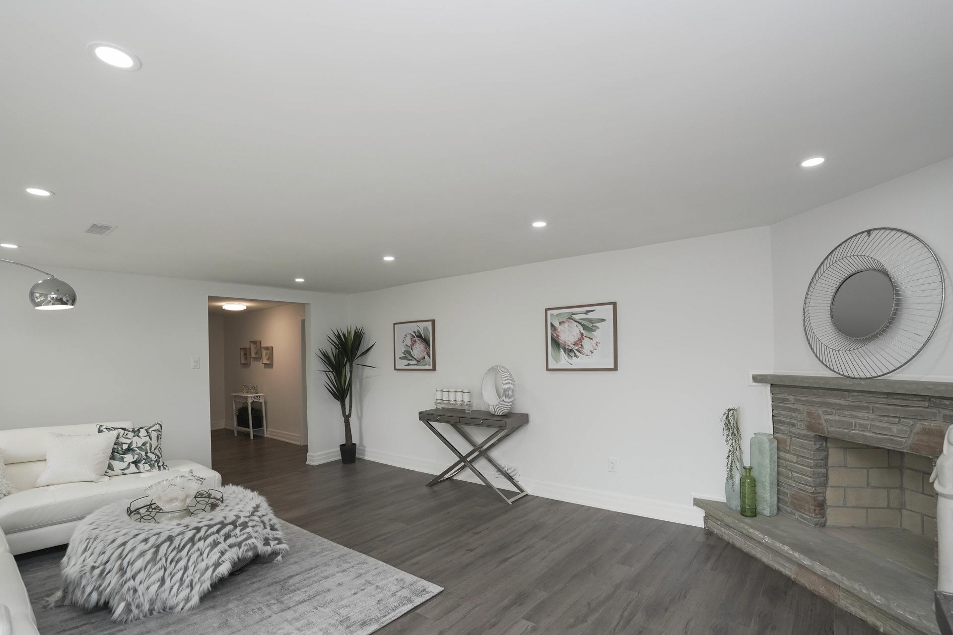 Basement Fireplace, 571 Rathburn, Etobicoke Home Staging