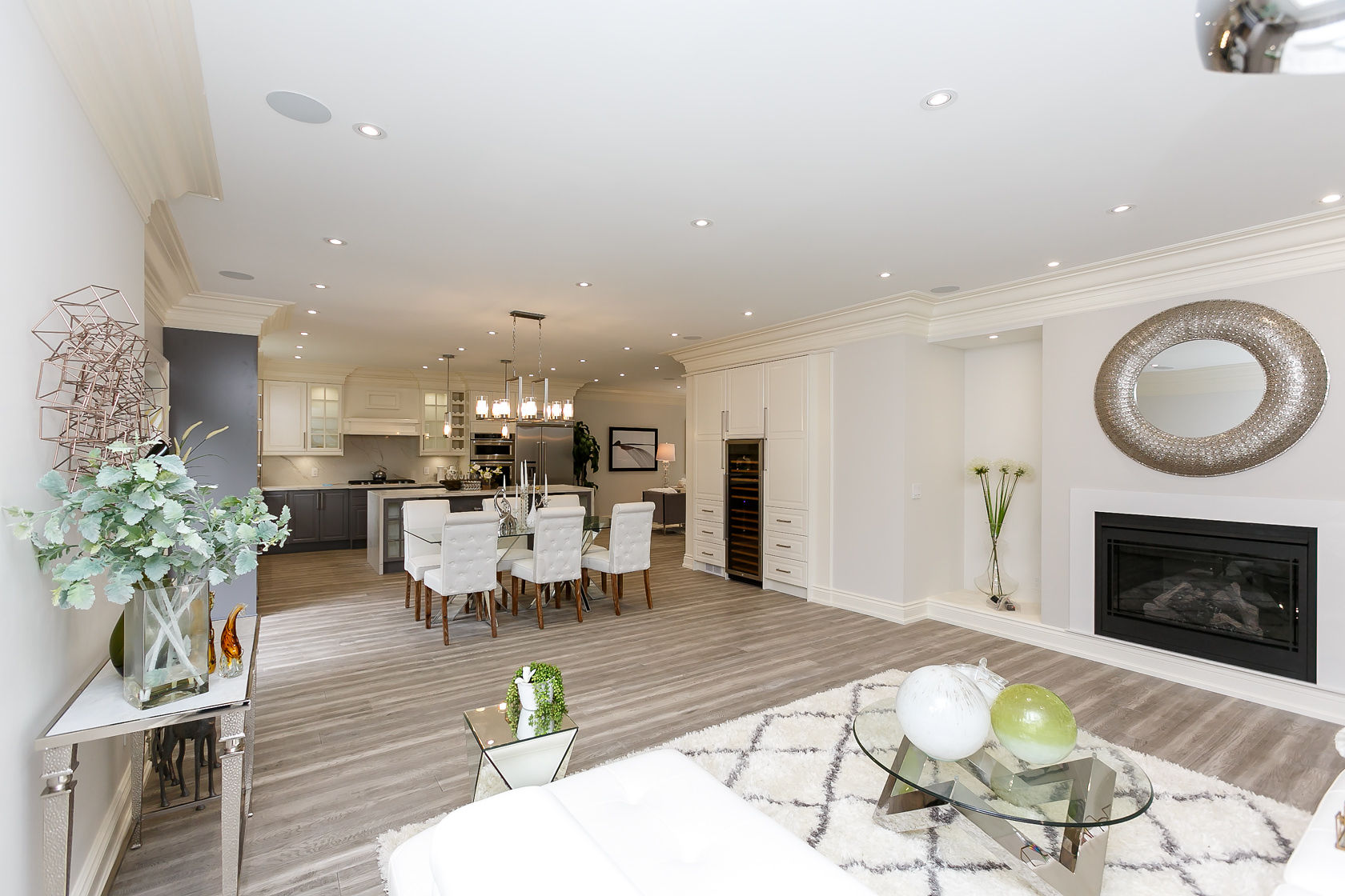 Fireplace, Dining Room and Kitchen, 49 Rossburn, Etobicoke Home Staging