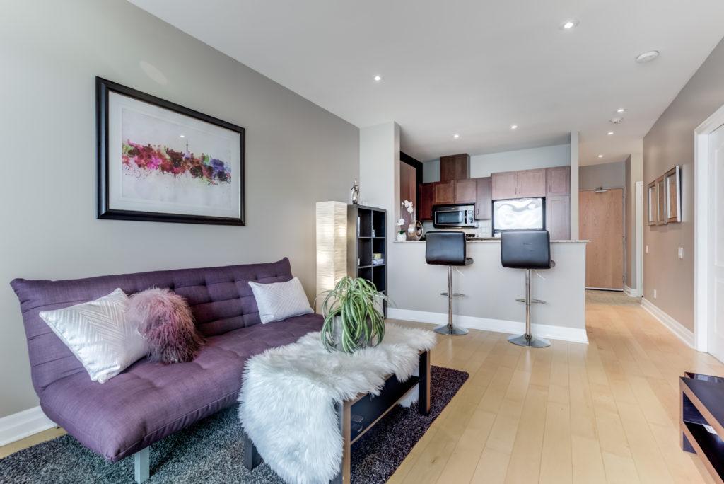 Living Room and Kitchen, 44 Bond, Oshawa Condo Staging
