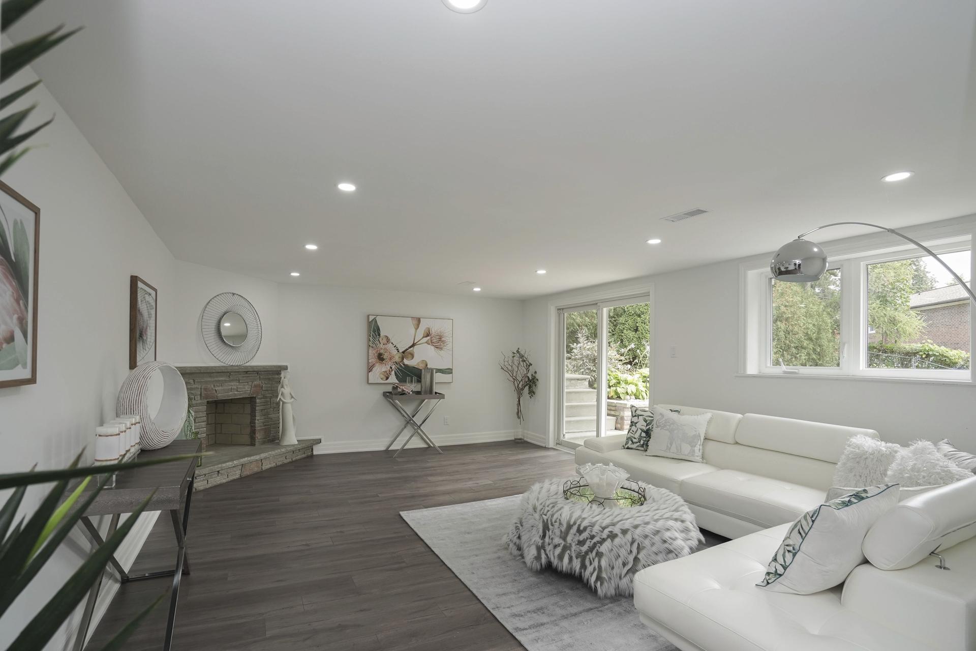 Living Room Lower Level, 571 Rathburn, Etobicoke Home Staging