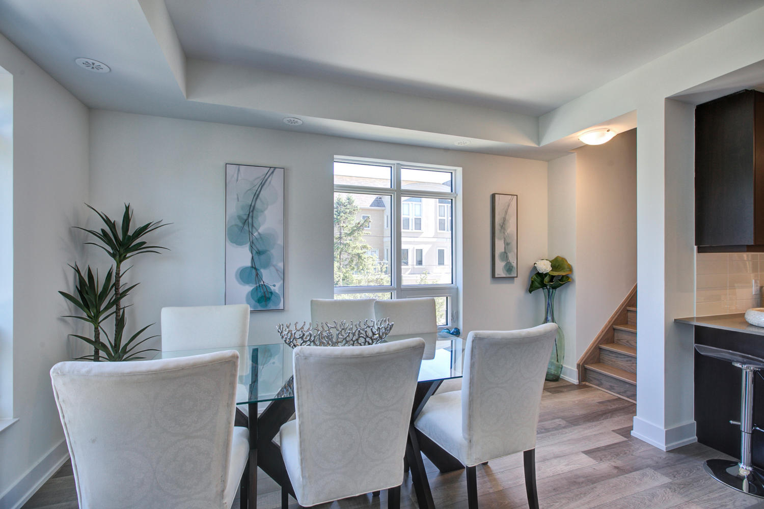 Dining Room and Stairs, 52 Holmes, Toronto Condo Staging