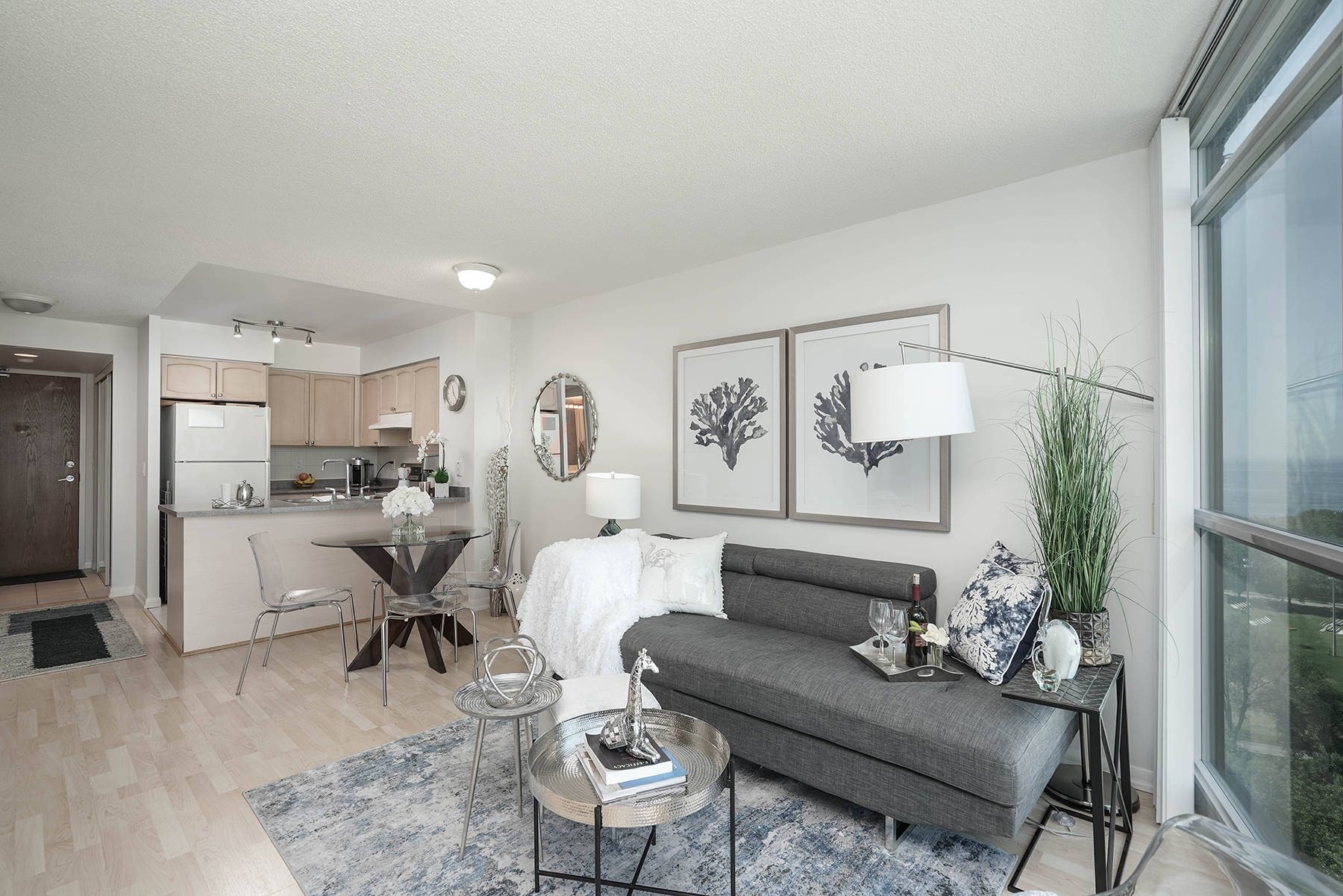 Living Room and Kitchen, 219 Fort York, Toronto Condo Staging